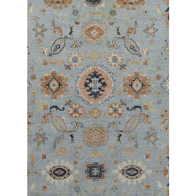 Contemporary Kafkaz Peshawar Reid Blue & Tan Wool Rug - 9'0 X 12'3 For Sale - Image 3 of 7