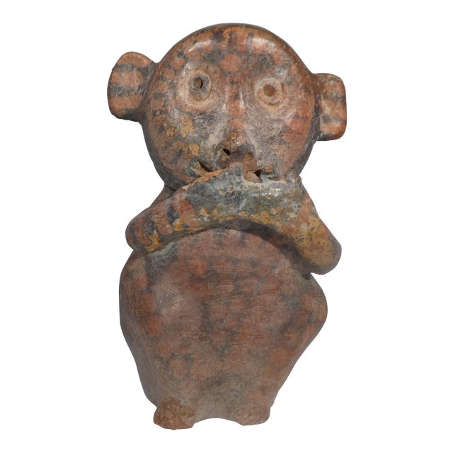 Authentic Pre Columbian Stirrup Monkey Vessel From Major Auction House For Sale