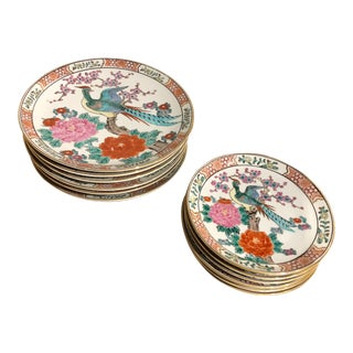 Chinoiserie Peacock Dinner Plates and Salad Plates - Set of 12