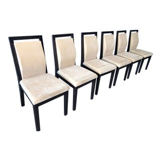 Asian Modern Ebonized Matte-Lacquered Dining Chairs - Set of 6 For Sale
