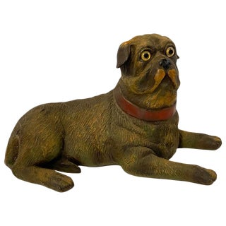English Style Recumbent Pug Dog With Glass Eyes For Sale