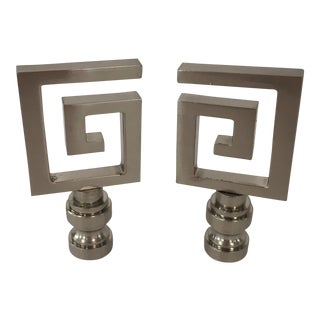 Silver Greek Key Finials – Pair For Sale
