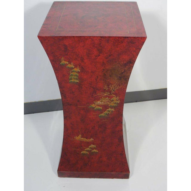 Wood 1970's Vintage Red Asian Style Pedestal For Sale - Image 7 of 13