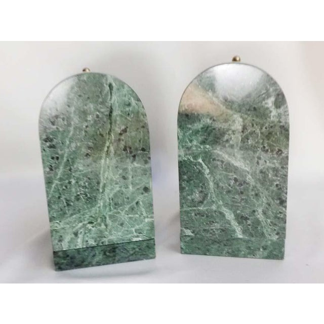 Old World Globe Bookends on Solid Green Marble - A Pair For Sale In Los Angeles - Image 6 of 7