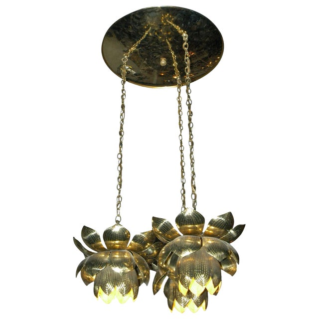 1960s Feldman Lighting Co. Mid-Century Lotus Pendant Chandelier For Sale