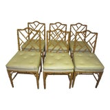 Image of Hollywood Regency Style Faux Bamboo Chairs in Original Natural Finish - Set of 6 For Sale