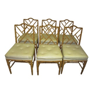 Hollywood Regency Style Faux Bamboo Chairs in Original Natural Finish - Set of 6 For Sale
