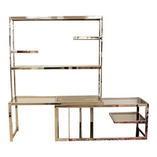 Mid Century Modern Baughman Chrome Expandable Shelving Unit Etagere 1970s For Sale
