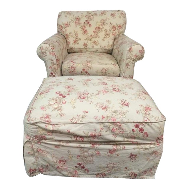 Vintage Rowe Furniture Floral Upholstered Armchair ...