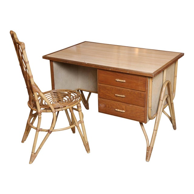 Bamboo Desk and Chair For Sale