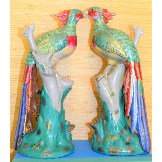 Ceramic Chinese Export Porcelain Pheonix Bird Figurines - a Pair For Sale - Image 7 of 13