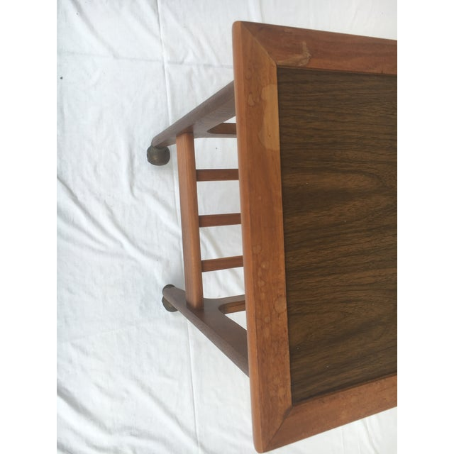 Mid 20th Century Small Mid-Century Modern Wooden Rolling Tray Table Cart For Sale - Image 5 of 12