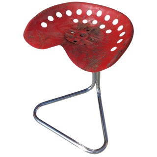 "Rare Red Rodney Kinsman ""T7 Tractor"" Outdoor/Patio Stool for OMK For Sale"