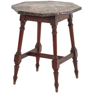Late 19th Century Copper Top Side Table With Wooden Legs From England For Sale