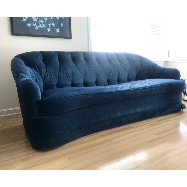 Maison 24 Shabby Chic Royal Blue Velvet Chesterfield Sofa For Sale - Image 4 of 5