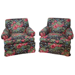 Baker Custom Floral Upholstered Club Chairs - A Pair For Sale