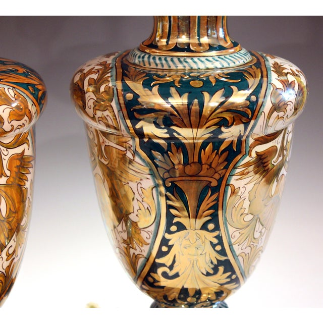 Antique Gualdo Tadino Luster Pottery Italian Majolica Gargoyle Robbia Lamps - a Pair For Sale - Image 9 of 12