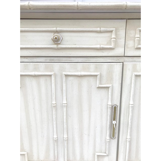 Boho Chic Hollywood Regency Thomasville Faux Bamboo Sideboard For Sale - Image 3 of 7