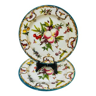 Vintage Floral & Fruit Motif Serving Plates - Set of 3 For Sale