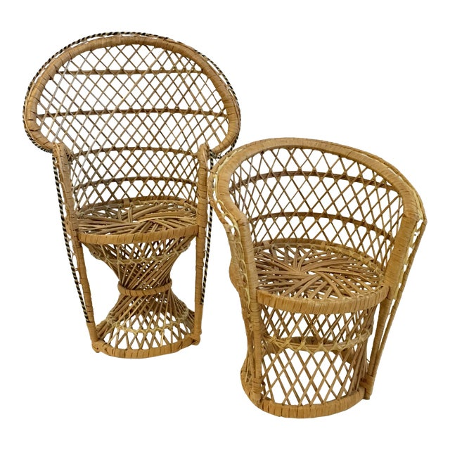 Vintage Boho Wicker Chair Plant Stands - A Pair For Sale