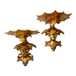 Gilded Italian Chinoiserie Wall Brackets - A Pair For Sale