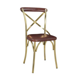 Brass X Back Dining Chair For Sale
