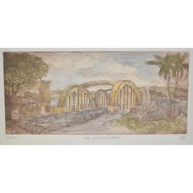 "Impressionism Rainbow Bridge ""Andy's Place - Haleiwa, Hawaii"" Color Etching by Partee c.1970s For Sale - Image 3 of 6"