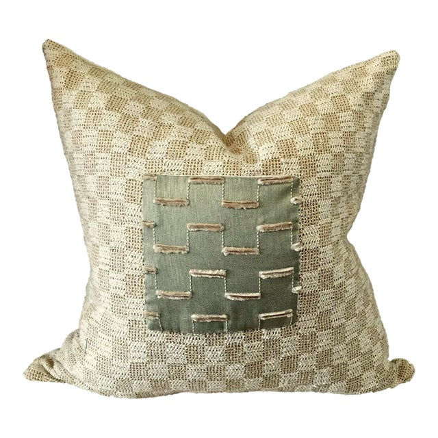 Beige Nubby Pillow For Sale