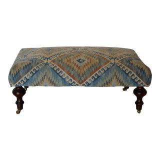 Custom Vintage Turkish Fabric Upholstered Ottoman