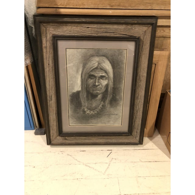 """Charcoal Drawing, """"Navajo Man"""" For Sale In San Francisco - Image 6 of 6"""