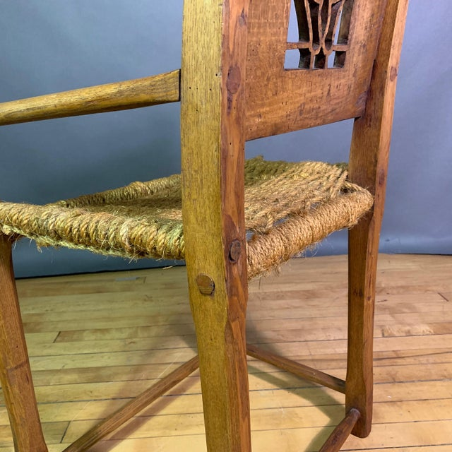 1823 Danish Carved Pine and Rope Armchair, Crowned Monogram For Sale - Image 11 of 12