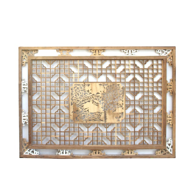Asian Chinese Rectangular Flower Birds Geometric Wood Wall Decor For Sale - Image 3 of 6