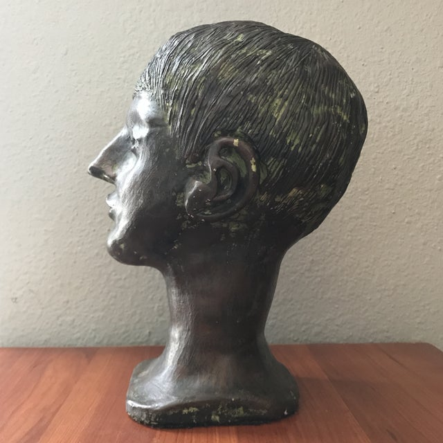 Vintage Handcrafted Pottery Male Bust For Sale - Image 4 of 7