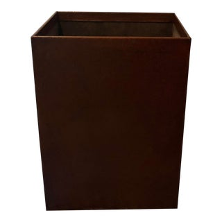 Vintage Brown Leather Waste Basket With Suede Interior For Sale