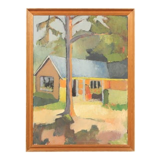 1960's Impressionist-Style Painting of a Portrait of a House For Sale