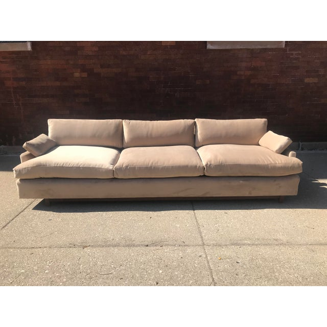 Mid Century Khaki Velvet Sofa For Sale - Image 11 of 11