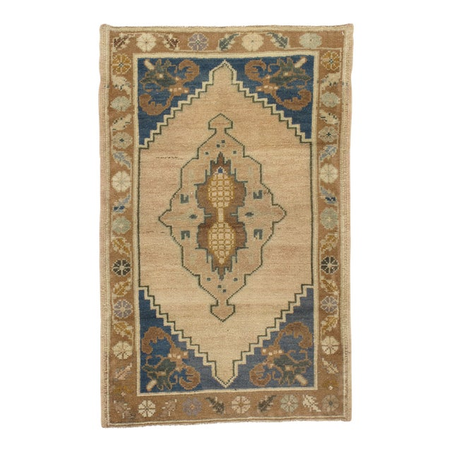 "Vintage Turkish Yastik Hand Knotted Rug - 2'2"" x 3'4"" For Sale"