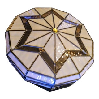 Pale Pink Tiffany Art Deco Inspired Stained Glass Flush Mount Ceiling Light For Sale