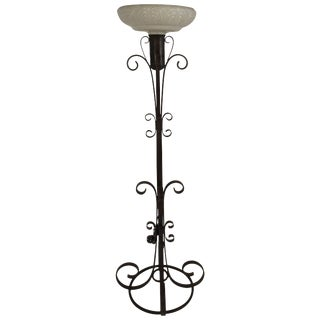 1940s Wrought Iron Floor Lamp For Sale