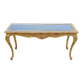 Vintage 20th C French Provincial Style Shell Carved Console For Sale