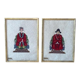 Chinese Ancestral Needlepoint Petit Point Framed Artwork - a Pair For Sale