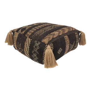 Vintage Black Moroccan Pouf For Sale