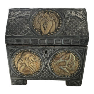 Late 19th Century Antique Alfred Daguet Gothic Style Repoussé Document Box For Sale