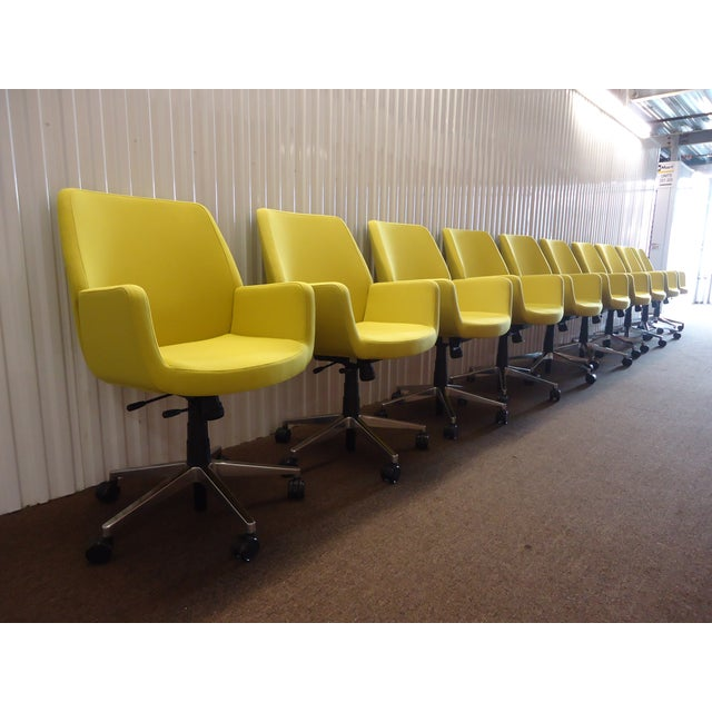 Yellow Brian Kane by Coalesse & Steelcase Modern Bindu Yellow Executive Conference Chair For Sale - Image 8 of 13