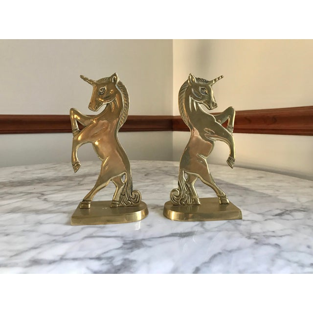 Vintage Mid-Century Brass Unicorn Bookends - a Pair For Sale - Image 9 of 9