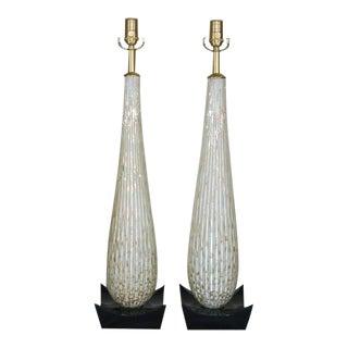 Vintage Murano Glass Lamps White Copper For Sale