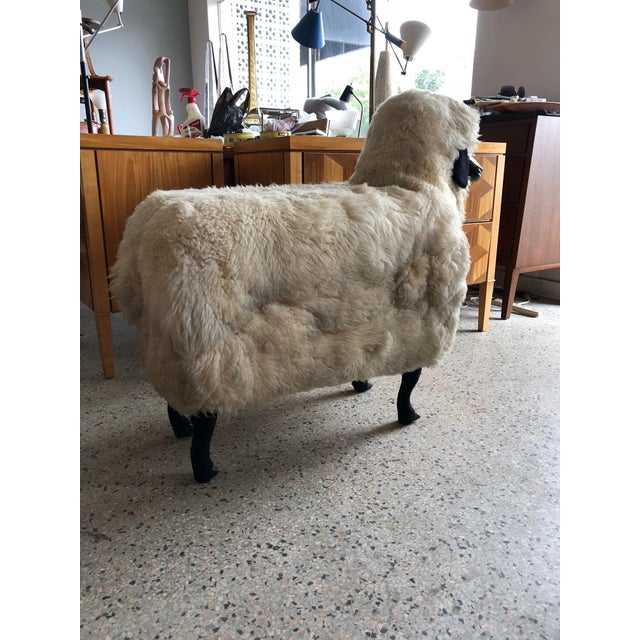 Animal Skin Sheep Sculpture Ottoman in the Style of Lalanne For Sale - Image 7 of 10