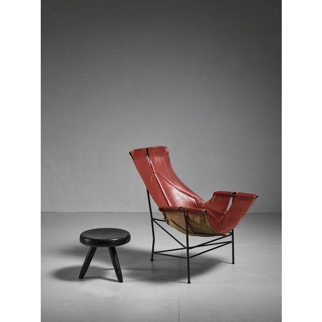Mid-Century Modern Leathercrafter Sling Chair in Brown Leather on Tri-Leg Base, USA, 1960s For Sale - Image 3 of 5