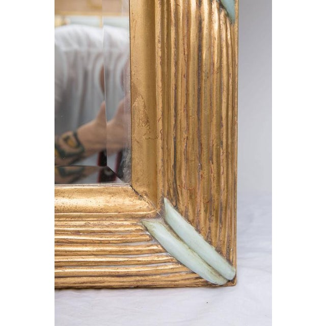 Traditional French Giltwood Mirror with Turquoise Accents For Sale - Image 3 of 7