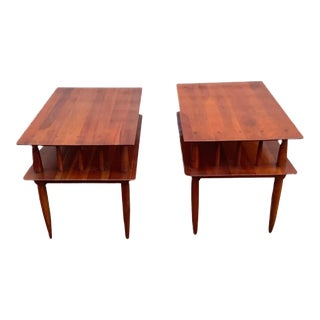Vintage Mid-Century Modern Solid Wood End Tables - a Pair For Sale
